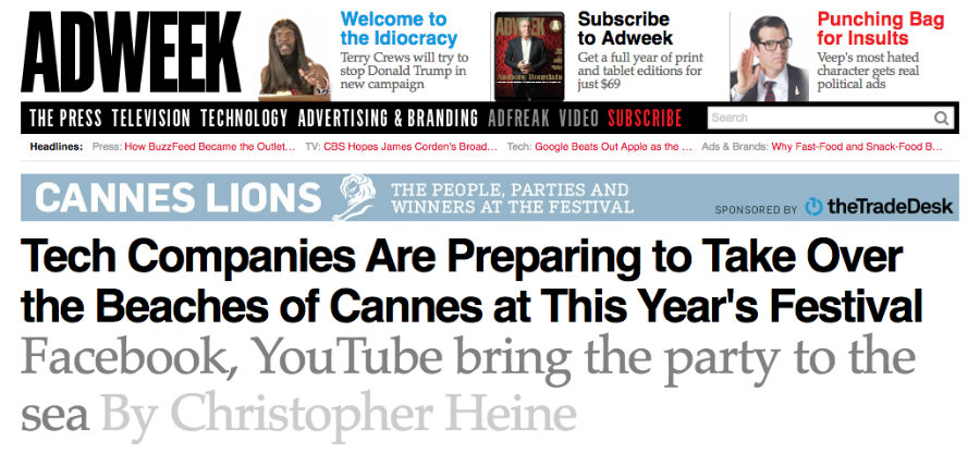 Tech Companies Are Preparing to Take Over the Beaches of Cannes at This Year's Festival - Facebook, YouTube bring the party to the sea ⓒAdweek