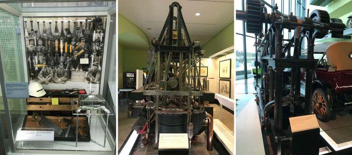 조선소 노동자들의 공구(좌), 선박 항행 장비(가운데), 내연기관(우) ⓒ양승훈
