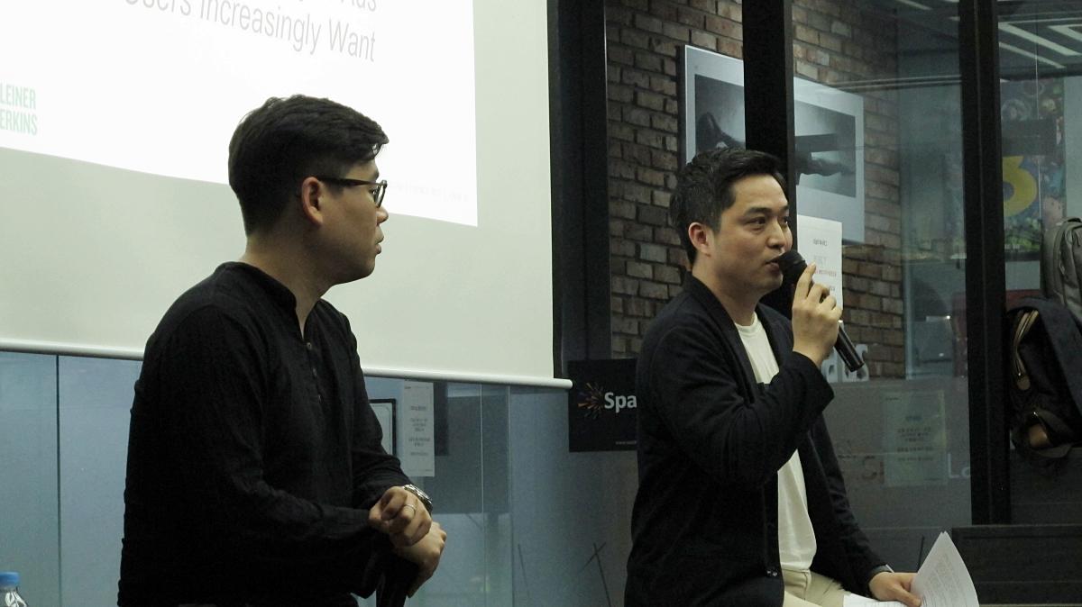 스톤브릿지벤처캐피탈 오지성 수석팀장(왼쪽), 퓨쳐스트림네트웍스 조창현 신규사업 총괄 대표(오른쪽) ©손현