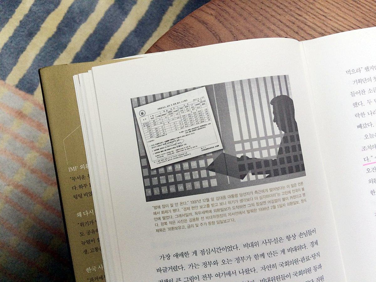 왼쪽 작은 사진은 김용환 전 비대위원장의 자서전에서 발췌한 1998년 2월 5일자 외환일보. 정식 제목은 '외환보유고, 금리 및 주가 동향 일일보고'다. / 「위기를 쏘다」 (중앙북스) 56페이지 / 사진: 손현