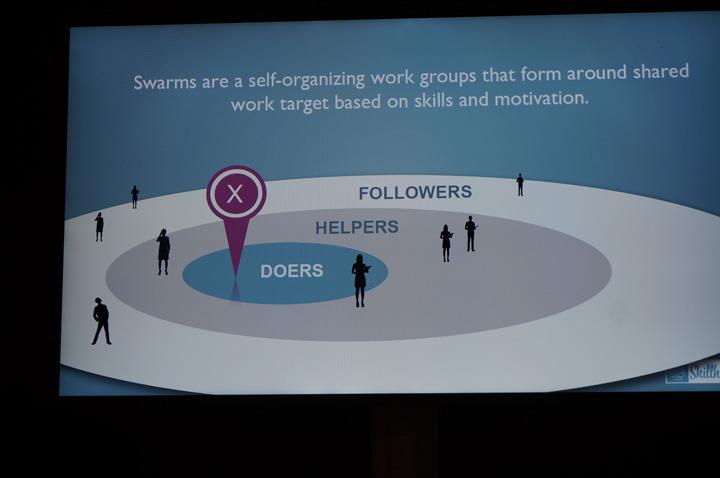 조직 구조가 크게 행동가(Doers), 조력가(Helpers), 지지자(Followers)로 나뉘고 세 부류가 유기적으로 연결되어 서로에게 배움을 추구하는 것이 Learning by Swarming입니다.