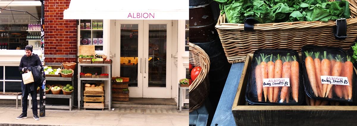 알비온의 브랜드 스티커는, 마치 영국의 신선한 유기농 식료품을 대변하는 하나의 상징과도 같다. 매장의 안팎에 가지런히 진열되어 있는 다양한 영국식 식료품들 ©김양아