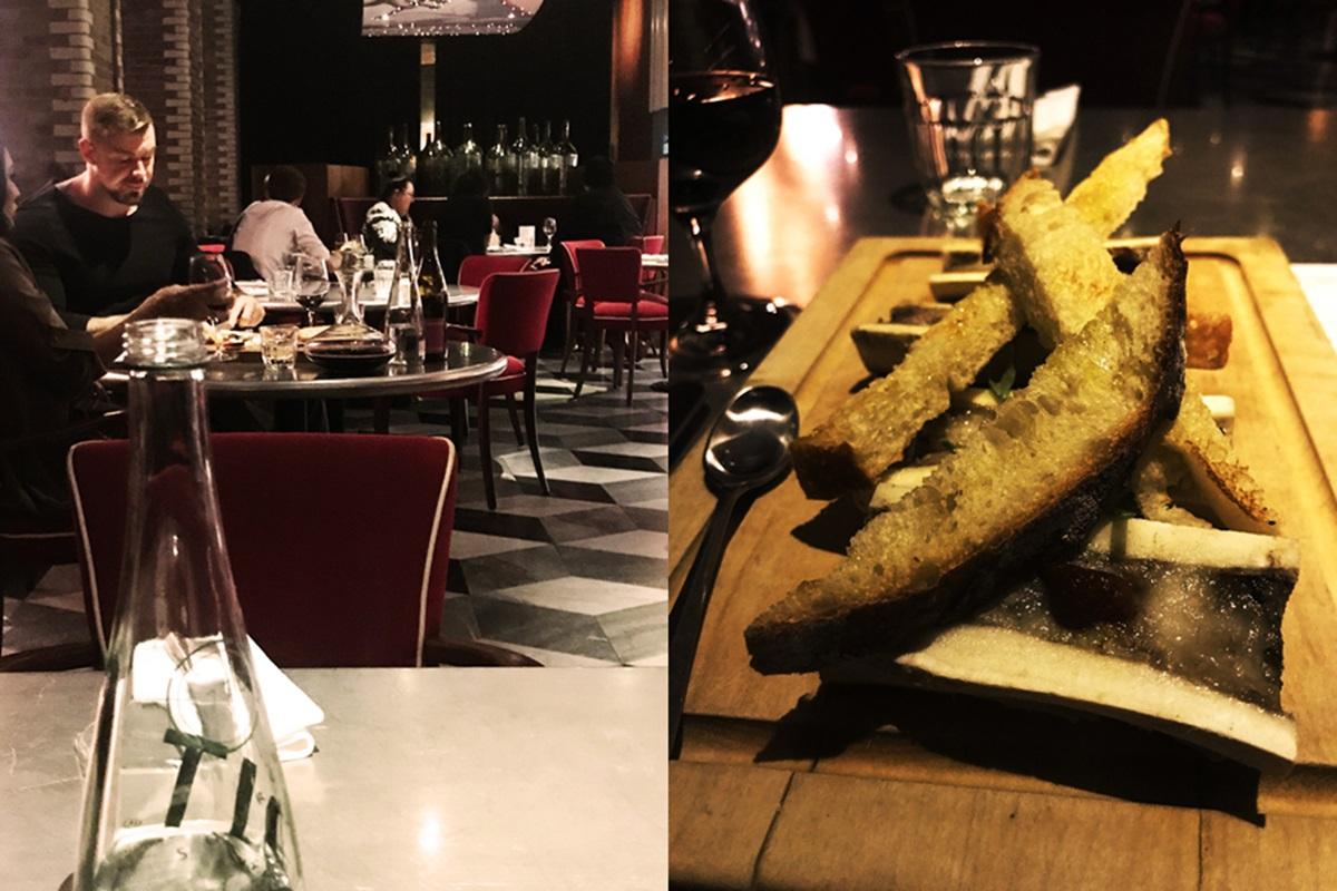 쇼디치의 세련된 런더너들이 많이 방문하는 트라트라의 저녁. 구운 소의 골수를 쵸리쵸, 트러플 오일을 뿌린 크루통과 함께 먹는 오른쪽 사진의 'Os a Moelle' 요리는 스테판 레이노드의 시그니처 메뉴 중 하나. ©김양아