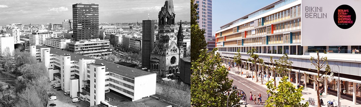 비키니의 과거와 현재. 1950년대 비키니의 전경을 보여주는 사진 ©Archive from Bikiniberlin.de / 2014년 말 새롭게 리노베이션 된 비키니의 모습 ©Bayerische Hausbau