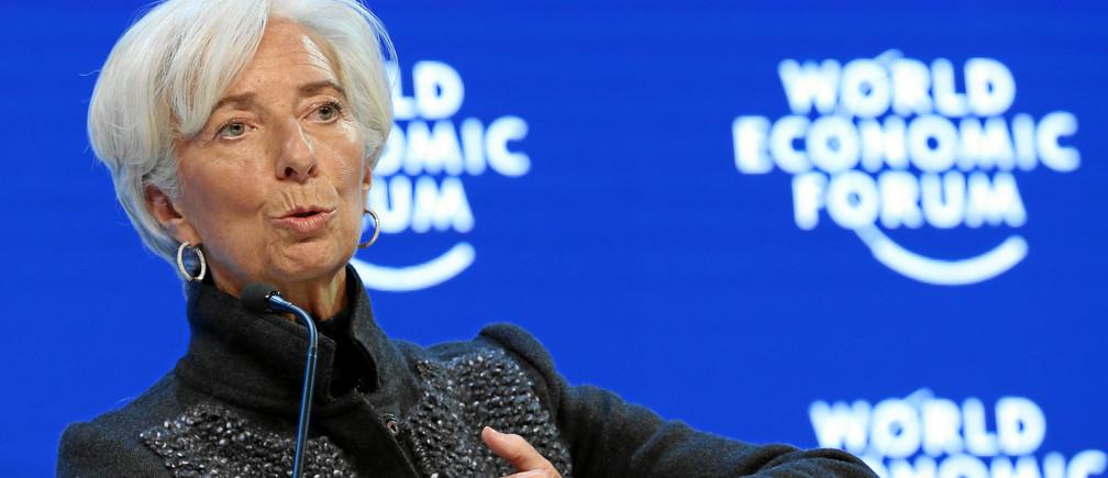 이번 포럼의 공동의장 중 한 명인 IMF 총재 크리스틴 라가르드. 그는 다보스 포럼의 이사진 중 한 명이기도 하다. ⓒWEF/swiss-image