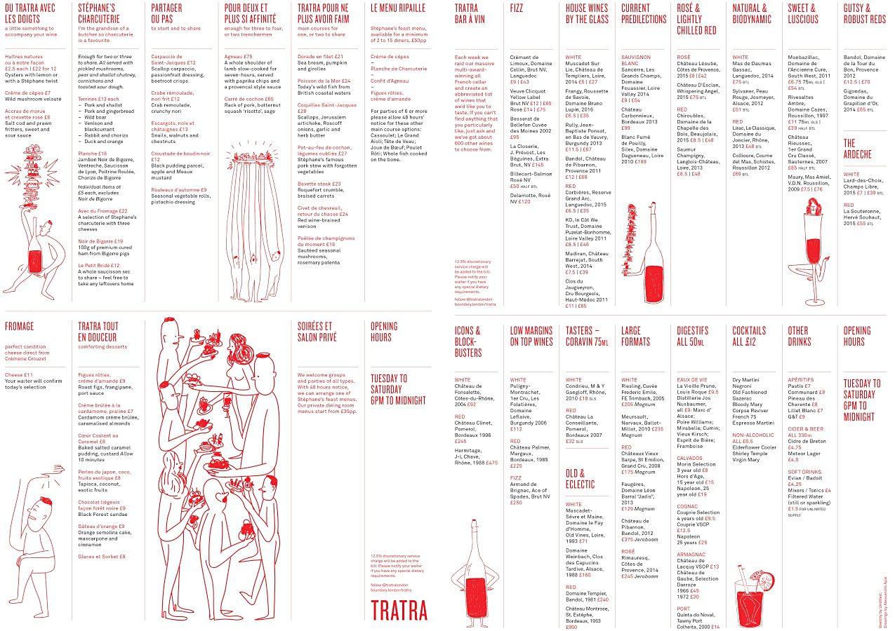 트라트라의 메뉴 중 일부(2017년 9월 기준) ©Tratra