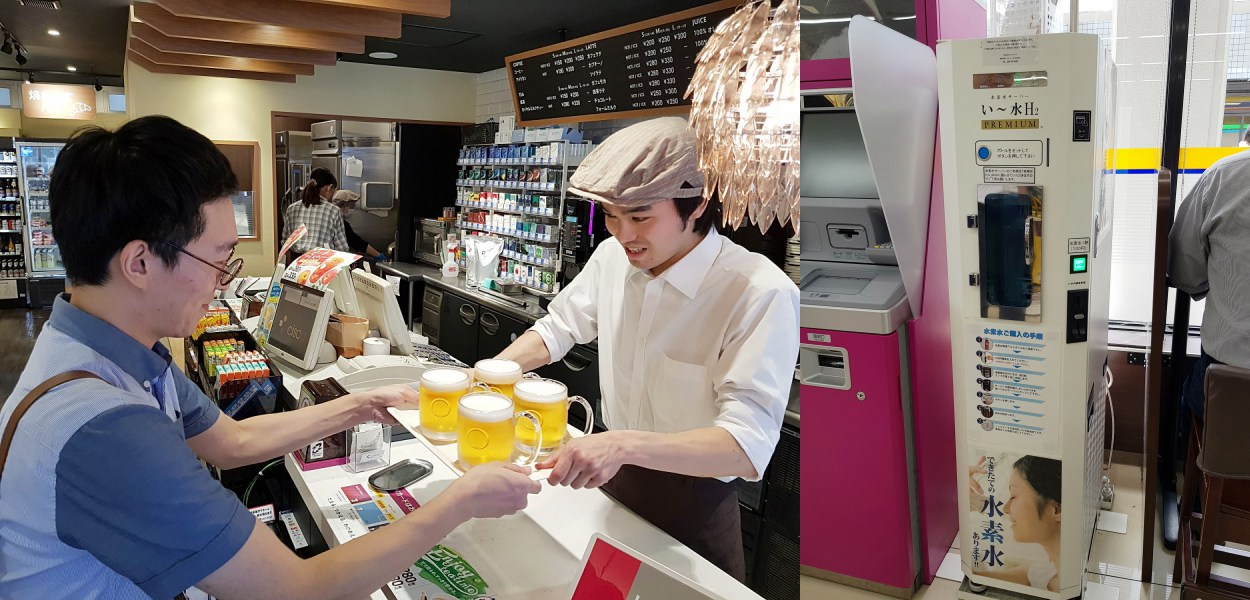 생맥주와 수소수(오른쪽 사진)를 파는 매장도 있습니다. 고객이 편의점에서 새로운 경험을 하게 하고, 식품의 신선도를 극단으로 끌어올려 집객력을 높이려는 노력의 일환입니다. ©노승욱