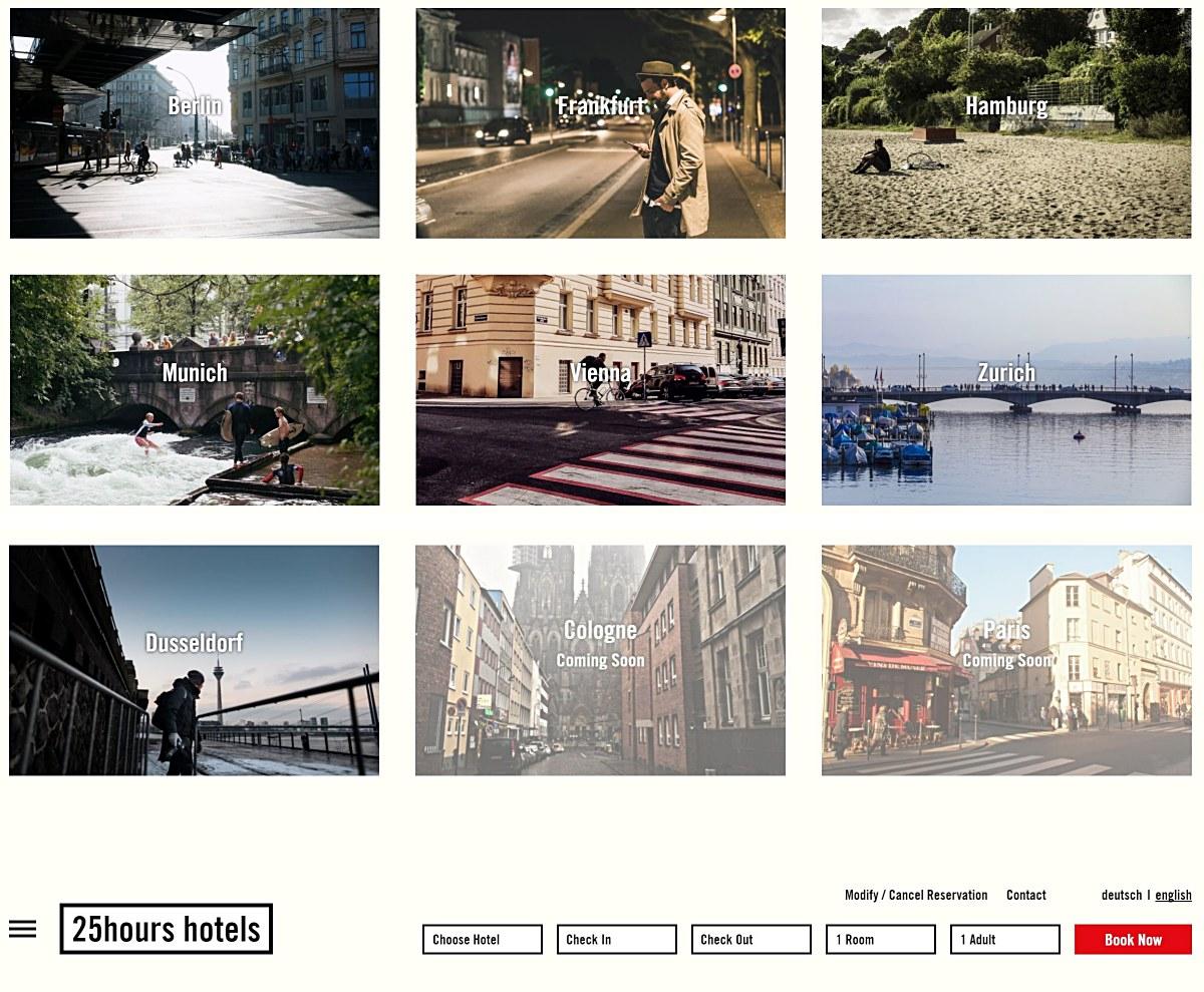 그룹이 보유한 도시별 호텔을 소개하고 있는 25아워즈 그룹의 홈페이지 화면 ©25hours Hotel Group