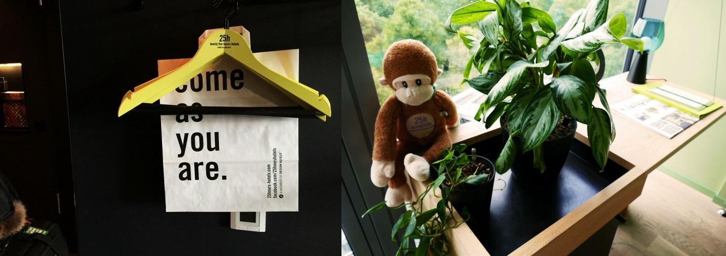 비키니 베를린의 감각적인 디자인을 보여주는 행거와 방안 곳곳에 놓여있는 원숭이 인형 ©김양아
