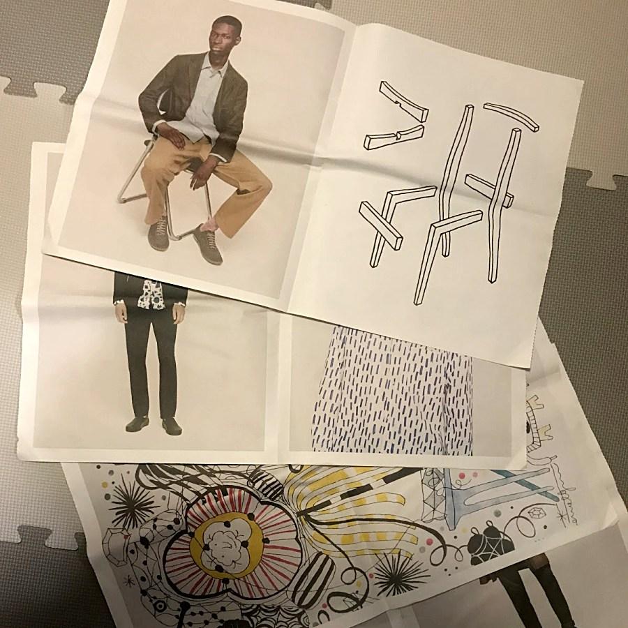 카탈로그 좌측에는 의류가 있고, 우측에는 Jasper Morrison의 가구 스케치가 있다. 어떤 페이지에는 Jaime Hayon의 스케치들이 있고 그 옆에 패턴을 입힌 의류가 들어가 있기도 하다. ©김병수
