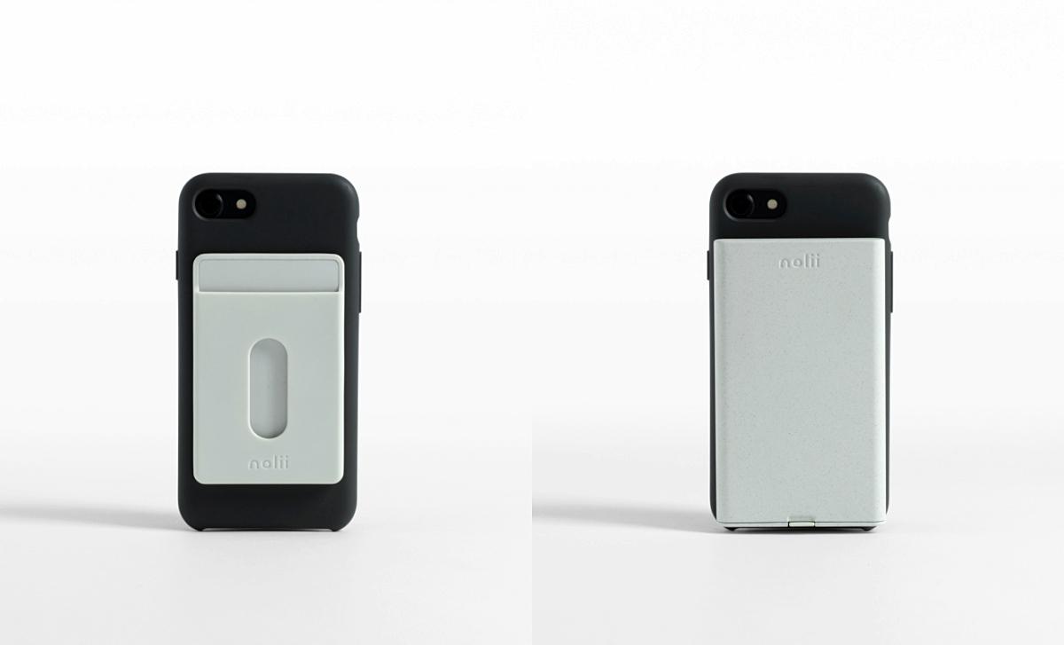 지갑과 배터리를 번갈아가며 끼울 수 있는 케이스 ©Nolii