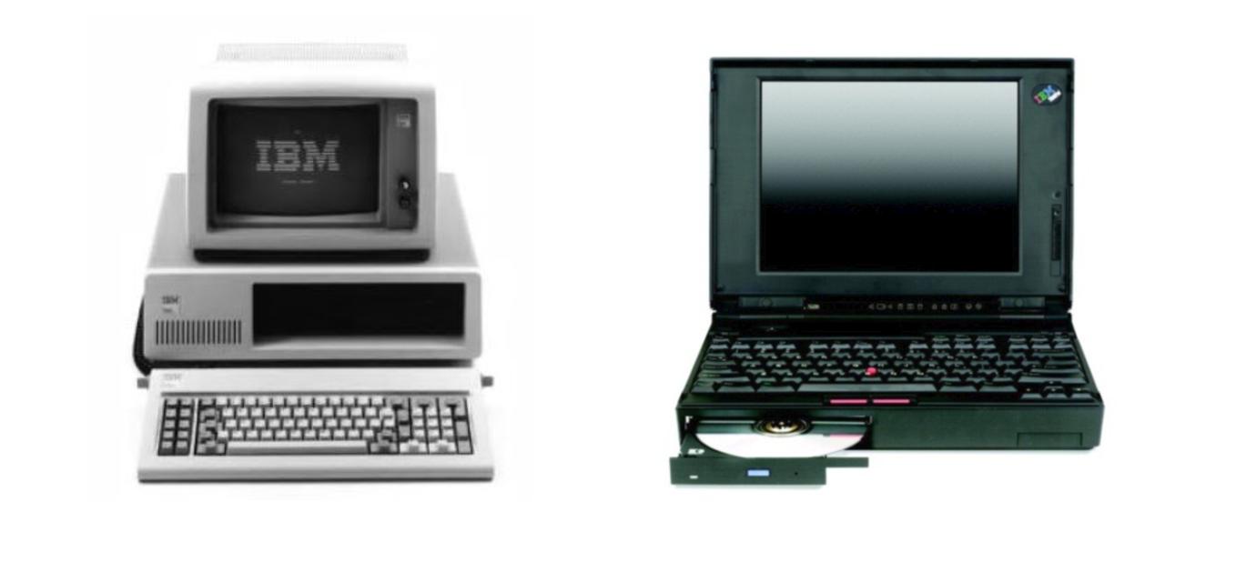 씽크패드는 데스크톱의 성능을 이동하면서도 느낄 수 있도록 했다. 1981년 IBM이 발매한 데스크톱과 1997년 세계 최초로 CD롬을 장착한 노트북 755CD ⓒIBM