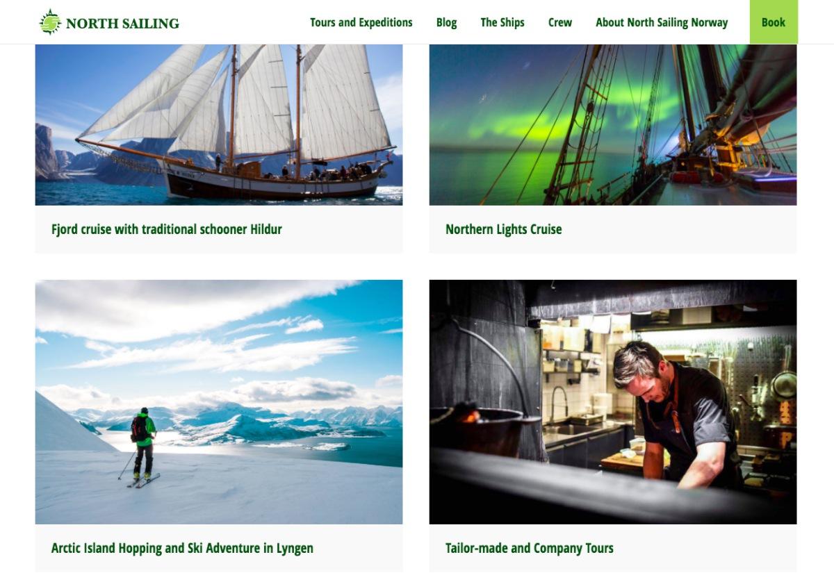 노스 세일링 노르웨이 홈페이지 일부 ©North Sailing Norway