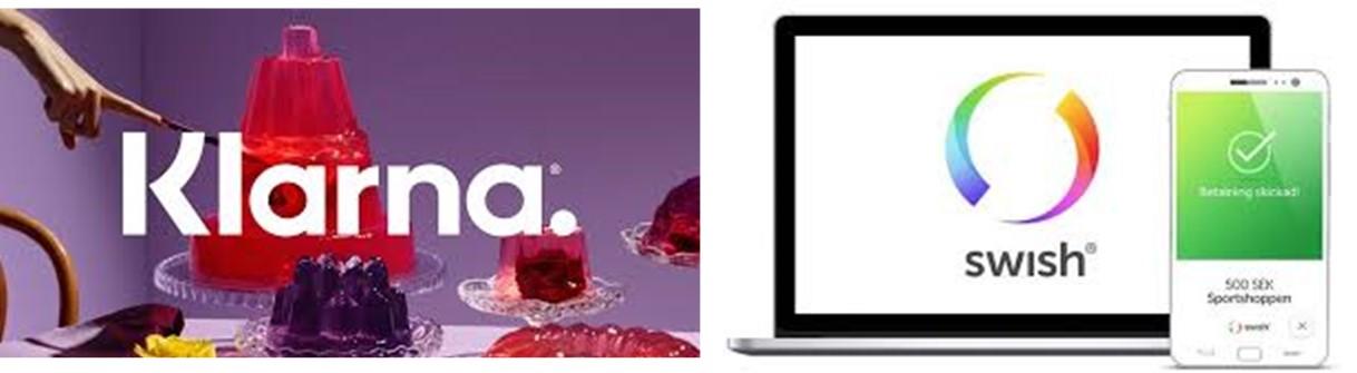 스웨덴 핀테크를 대표하는 온라인 페이먼트 업체 Klarna와 P2P 송금 특화 업체인 Swish ©Klarna, Swish