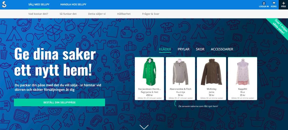 스웨덴의 신생 스타트업 Sellpy는 중고물품을 좋은 가격에 대신 팔아주고 수익을 배분하는 모델로 성공을 거두고 있다. ©Sellpy