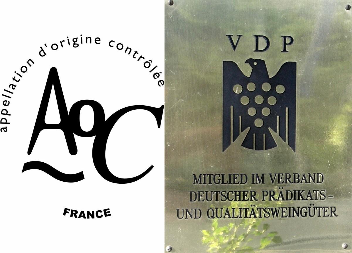 프랑스 AOC와 독일 VDP 로고. 와인 레이블 또는 병목 위쪽에 이 마크가 그려져 있으면 엄격한 품질 기준을 유지하는 와인임을 알 수 있습니다. ©AOC/VDP