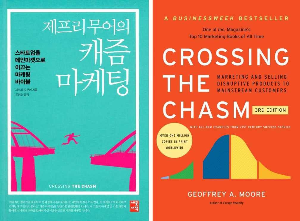 <제프리 무어의 캐즘 마케팅>과 <Crossing the Chasm> ⓒ세종서적/HarperCollins