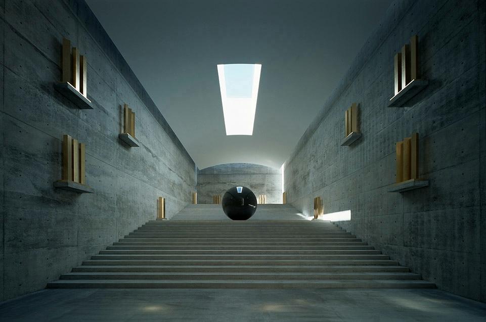 안도 다다오의 대표작인 나오시마 프로젝트 중 하나인 지추(地中) 미술관 내부 모습. 건물의 공간과 전시품이 하나의 예술 작품처럼 어우러지도록 꾸몄다. ⓒ안도다다오건축연구소