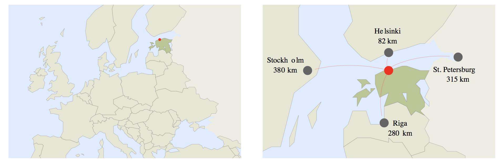 에스토니아의 지리적 위치 ⓒ비지트탈린