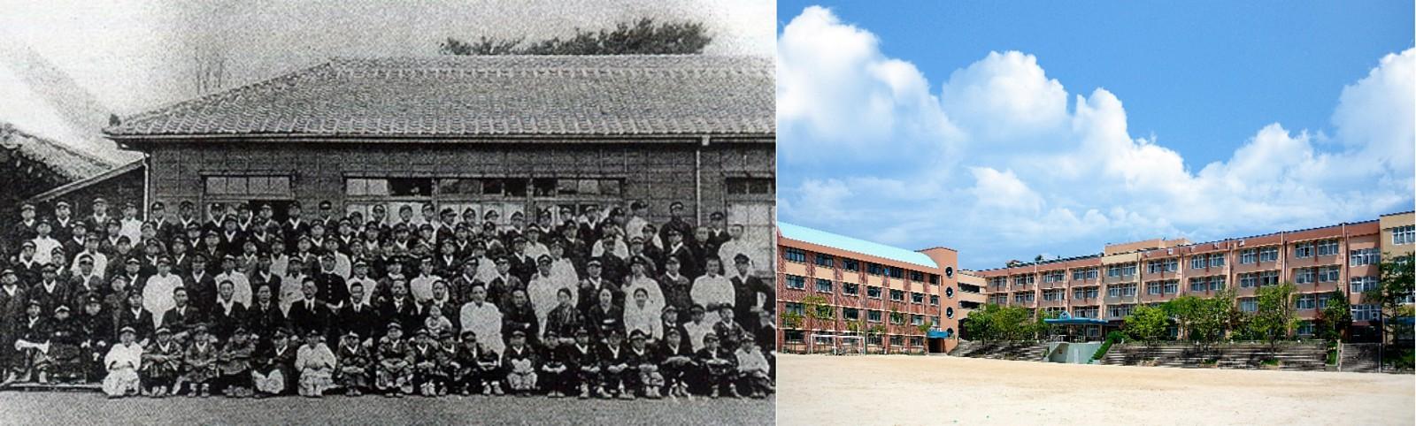 근대 학교의 모습(좌 ⓒ제주교육청)과 오늘날 학교의 모습(우 ⓒ수일중학교)