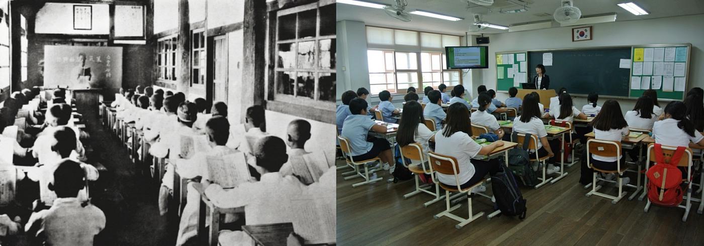 원산학사의 수업 모습(좌 ⓒ우리역사넷)과 오늘날 학교의 수업 모습(우 ⓒ송광중학교)