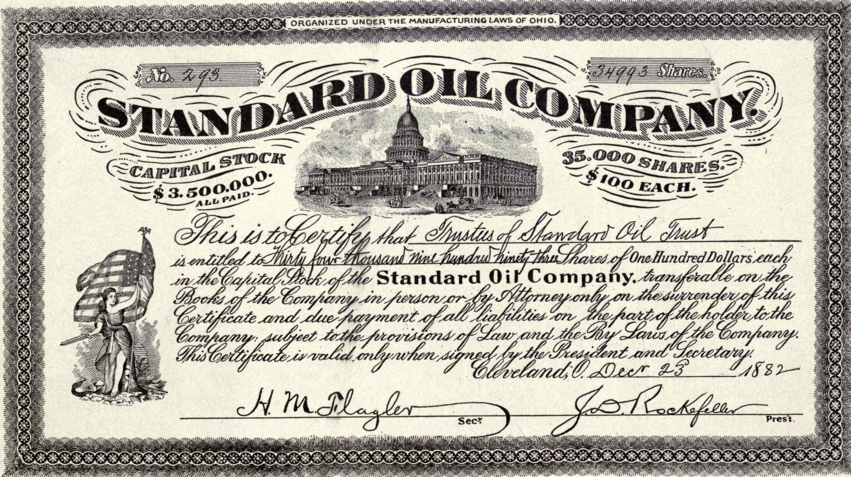 스탠다드 오일사의 증권. 오른쪽 아래 J.D. Rockefeller의 서명이 선명하다.