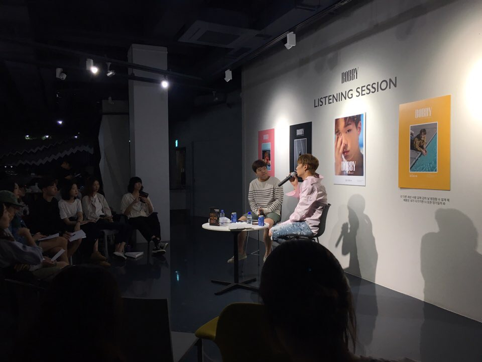 아이콘(iKON) 멤버 바비(Bobby)의 첫 솔로 앨범 리스닝 세션 진행 모습 ©박준우
