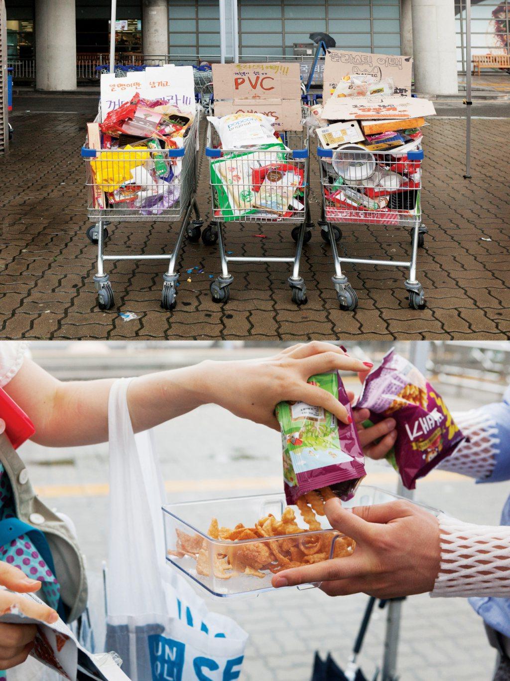 2018년 7월 1일 서울의 한 대형마트에서는 과도한 일회용 플라스틱 포장에 반대하는 시민 행동 '플라스틱 어택'이 있었다. 시민들은 '껍데기는 가라'라고 외치며 각자 구매한 상품의 과대 포장을 뜯어 내용물만을 지참해온 다회용 용기에 옮겨 담았다. 시민들이 구매한 물건 수에 따라 격차는 있지만 약 3만 원 어치 쇼핑을 하면 평균적으로 17개의 포장 쓰레기가 배출됐다. ⓒ홍수빈