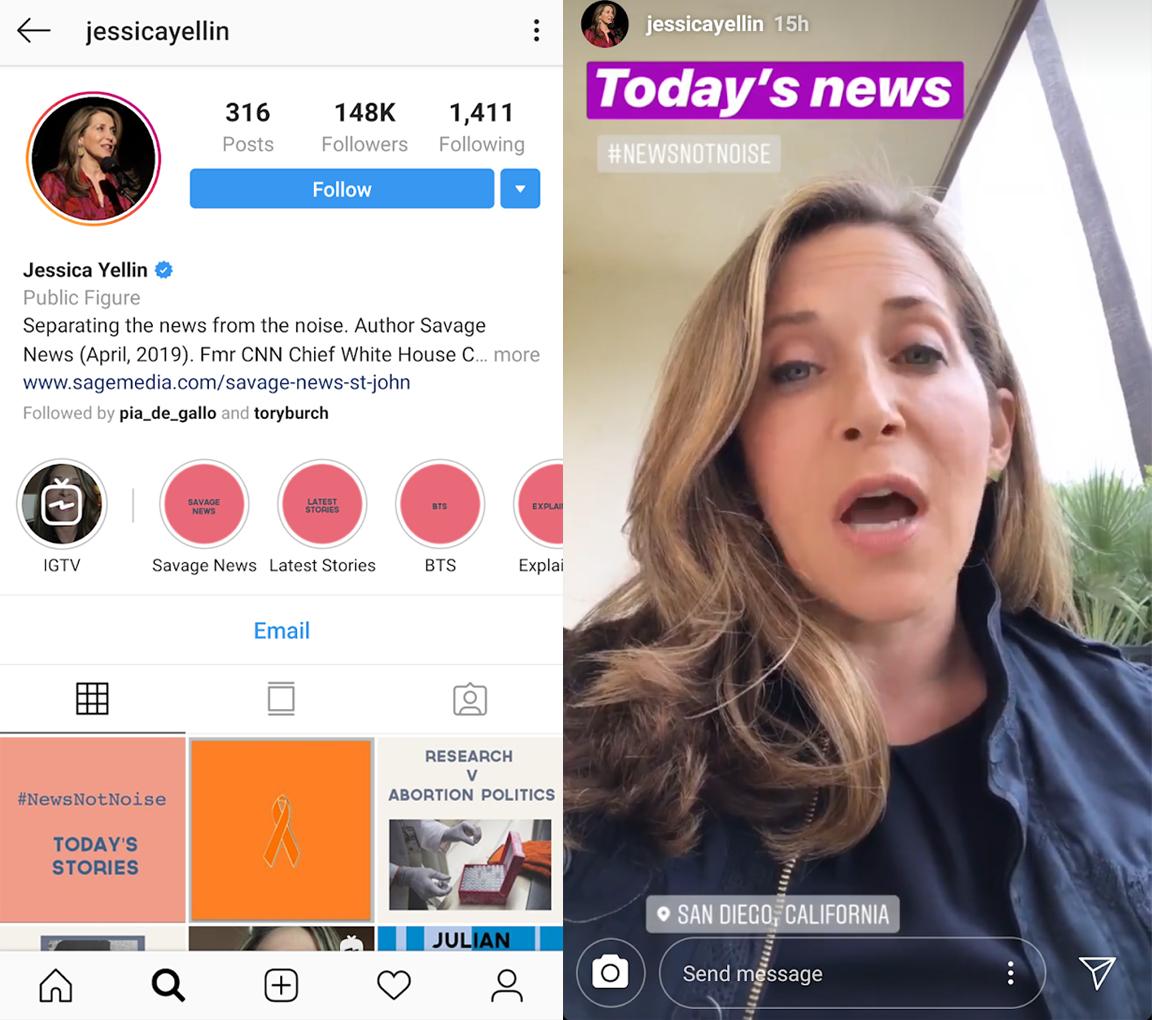 제시카 옐린이 인스타그램 스토리와 포스팅을 통해 뉴스를 전달하고 있다. ⓒ제시카 옐린 인스타그램