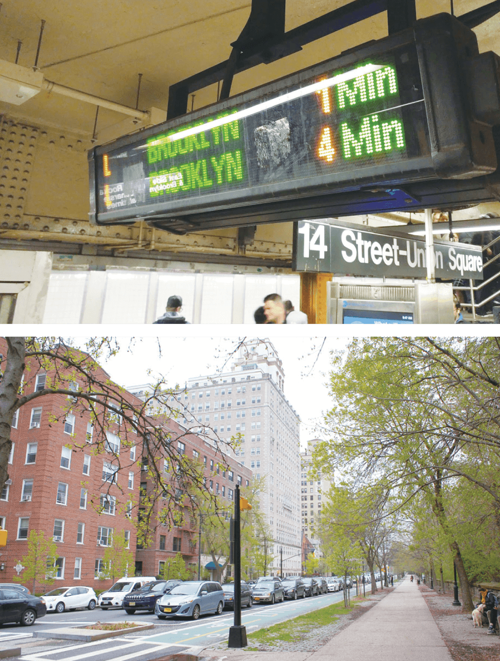 위: 브루클린행 전철이 떠나는 맨해튼 유니온 스퀘어 역 / 아래: 소설가들의 도시 브루클린 ⓒ다산북스