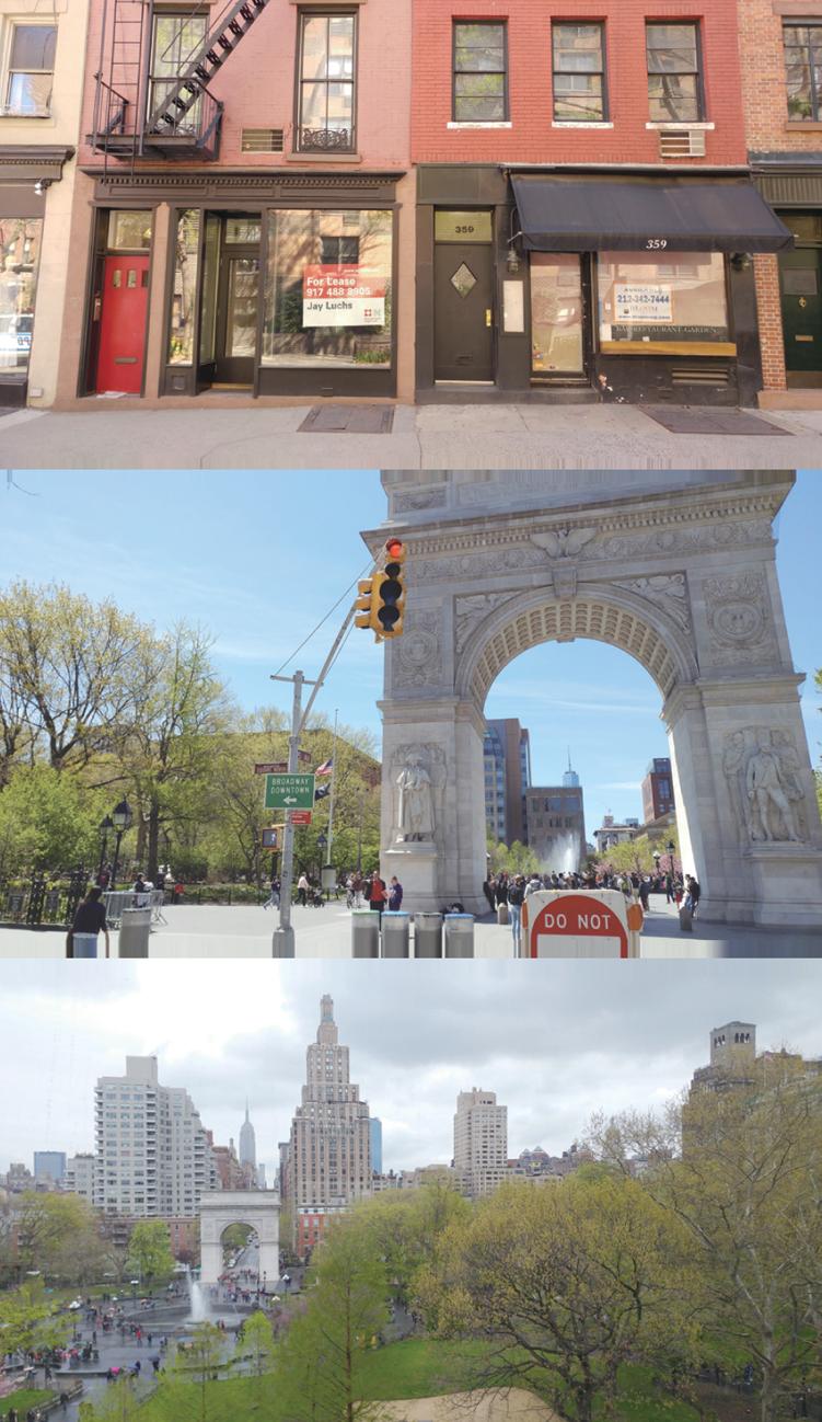 위: 임대를 알리는 사인이 늘어나는 블리커스트리트 상가 / 가운데: 뉴욕시가 로멕스(LOMEX)의 진입구로 지정한 워싱턴 스퀘어 공원 입구 / 아래: 계획대로 설치됐다면 로멕스(LOMEX) 진입로는 아치에서 시작해 공원 동쪽(이 사진의 오른쪽)을 지나갔을 것이다 ⓒ다산북스