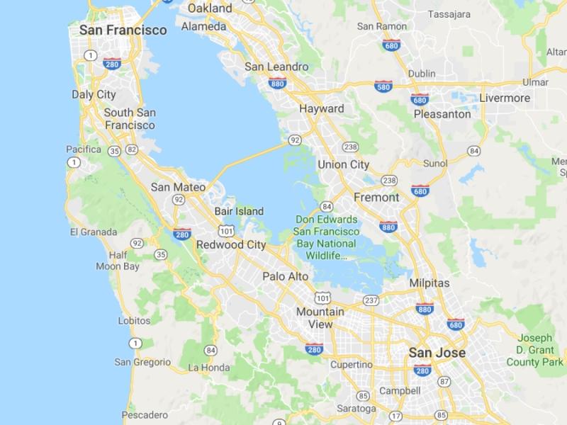 크게 베이 에리어(Bay Area)로 불리는 지역 (출처: 구글맵스)