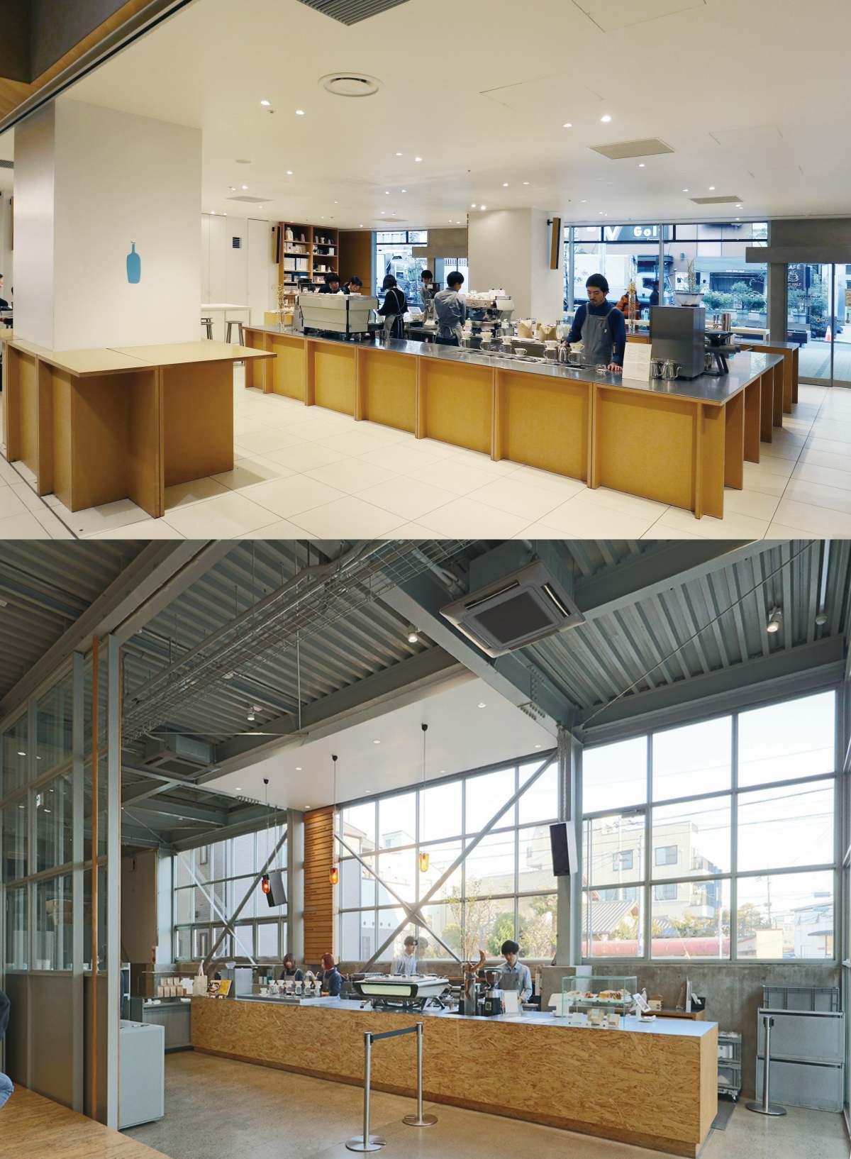 (위) 신주쿠에 위치한 '블루보틀' 매장 내부. (아래) 기요스미에 위치한 '블루보틀' 매장 내부. 커피의 제조 과정에만 집중하도록 만든 구조다. ©쌤앤파커스