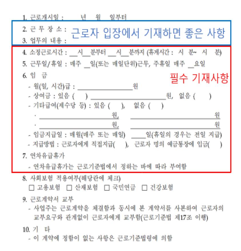 표준근로계약서 ©고용노동부