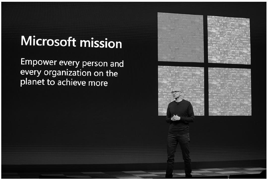 한 행사에서 마이크로소프트 미션에 대해 말하고 있는 사티아 나델라 회장 ⓒ더메이커